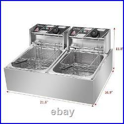ZOKOP 5000W Electric Deep Fryer 12L Dual Fry Machine Commercial Restaurant