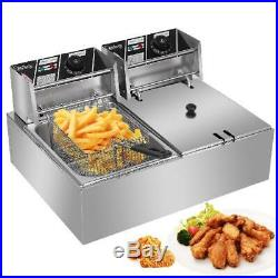 Zimtown Commercial 12L 5000W Professional Electric Countertop Deep Fryer Dual Ta