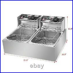 Zokop 5000W 12L Dual Tank Electric Deep Fryer Stainless Steel Commercial Basket